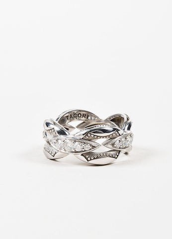 Tacori Sterling Silver Diamond Crescent Links Stacking Ring Frontview
