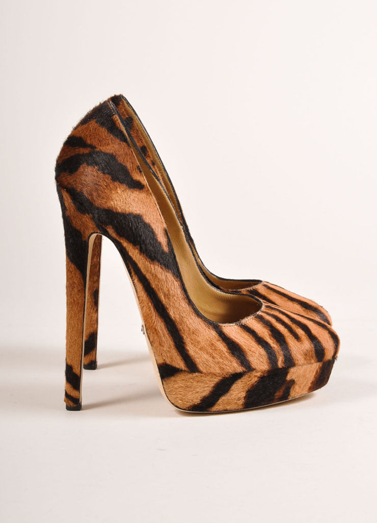 Tania Spinelli New In Box Tan and Black Pony Hair Tiger Print Platform Pumps Sideview