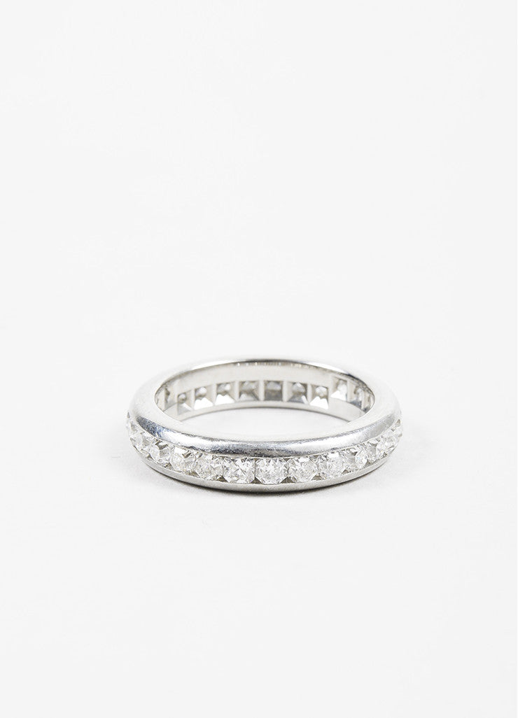 "Tiffany & Co. Platinum Diamond Channel Set ""Lucida"" Band Ring Frontview"