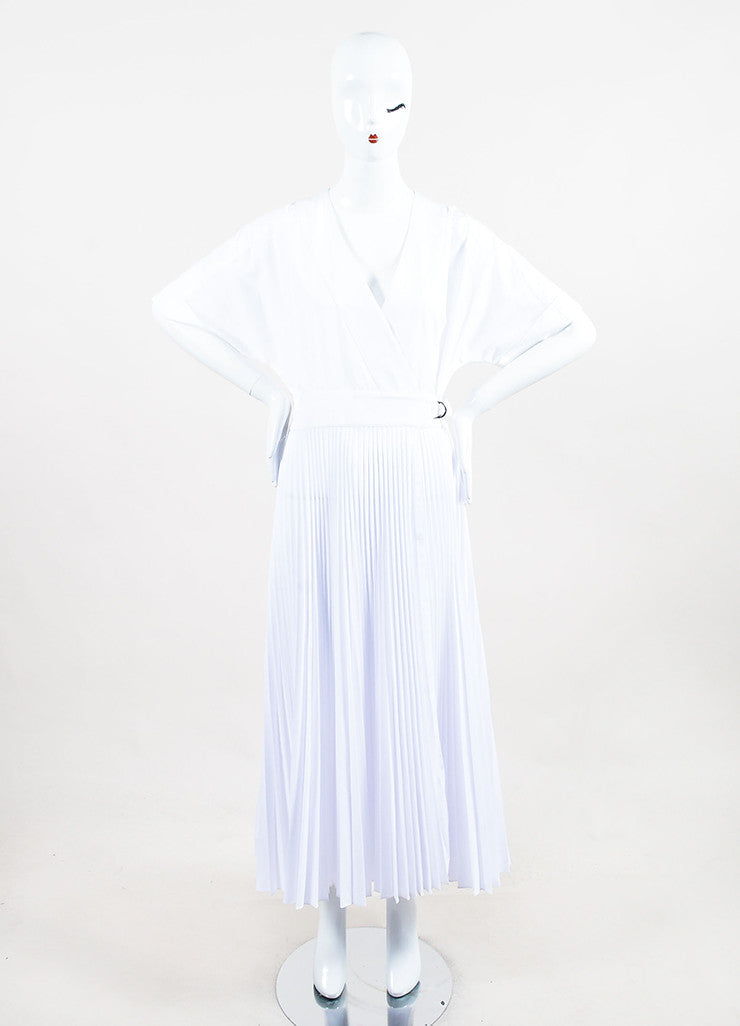 Tome White Wrap V-Neck Pleated Short Sleeve Dress Frontview