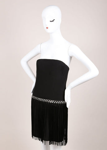 Bob Mackie Black and Clear Rhinestone Bead and Fringe Trim Strapless Dress Sideview