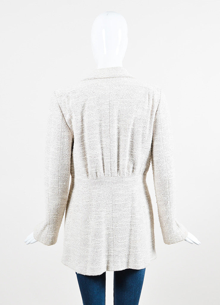 Chanel Beige and Metallic Wool Blend Long Structured Jacket Backview