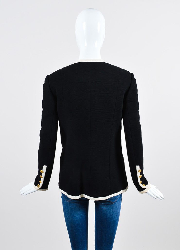Black and Cream Chanel Wool Gold Toned Shamrock Button Jacket Backview