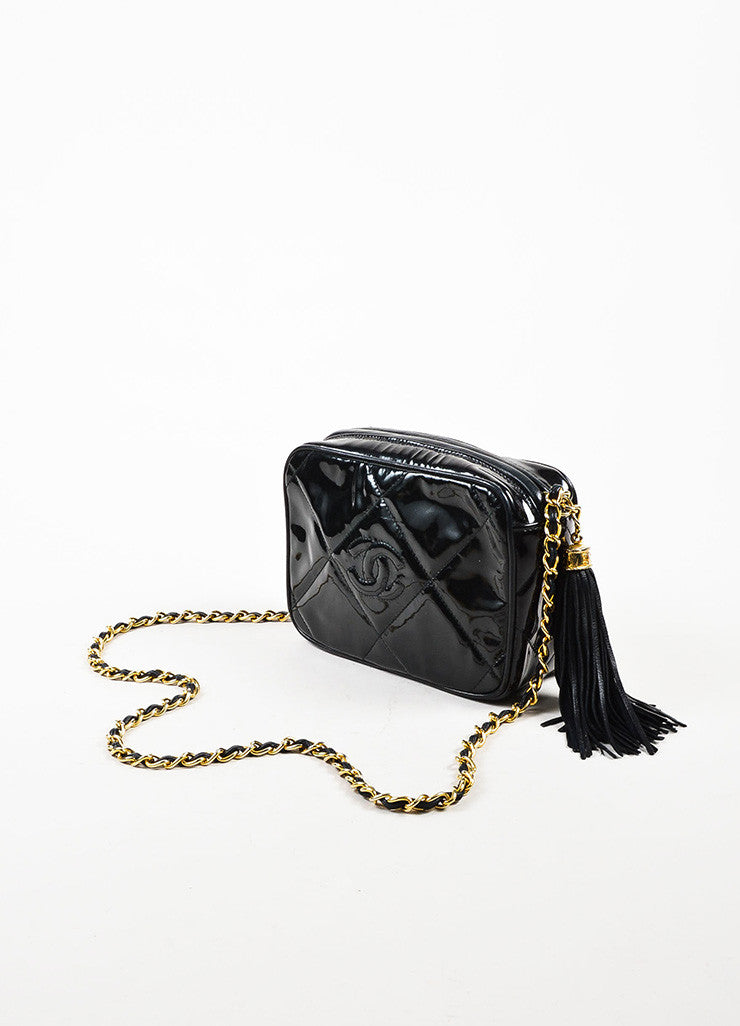 Chanel Black Patent Leather Gold Toned Chain Zip Tassel Shoulder Bag Sideview
