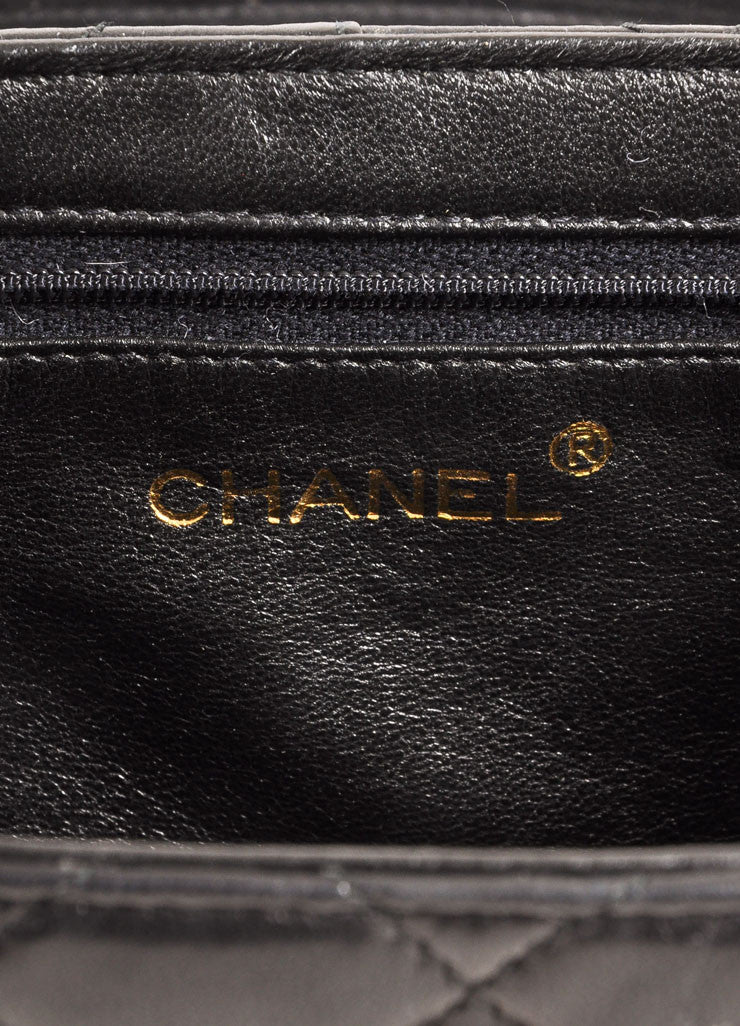 Chanel Black Quilted Lambskin Leather Tassel Vanity Case Bag Brand