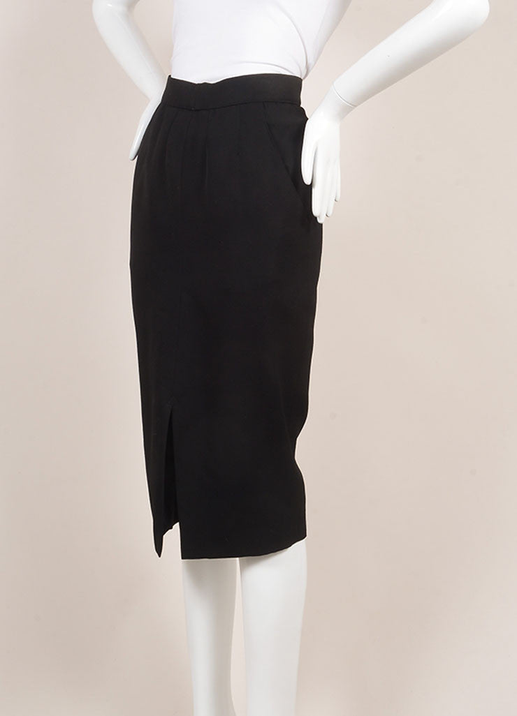 Black Slit Long Pencil Skirt