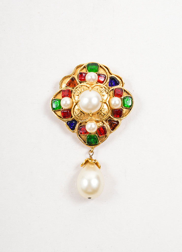 Chanel Gold Toned, Multicolor Stone, and Faux Pearl Dangle Brooch Frontview