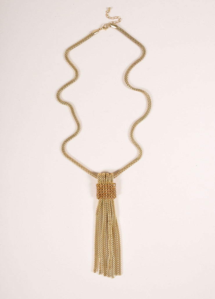Vintage Gold Toned Rhinestone Trim Tassel Pendant Box Chain Necklace Frontview