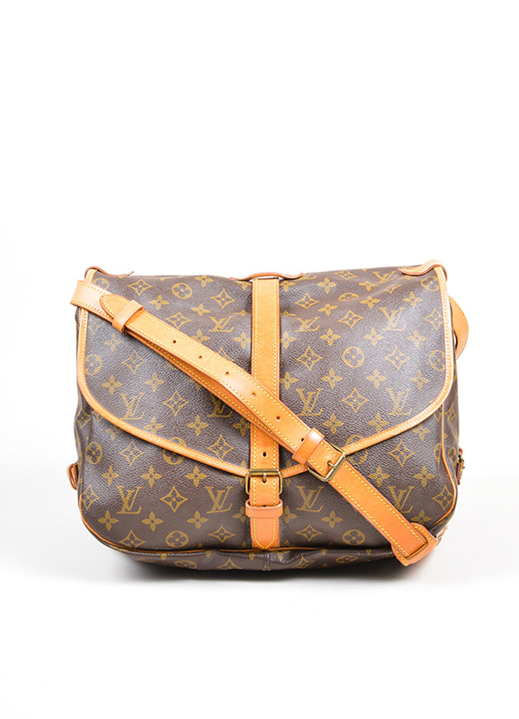 "Brown Louis Vuitton Monogram ""Saumur 35"" Messenger Bag  Front"