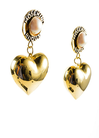 Gold Toned and Faux Pearl Large Heart Drop Bijoux Earrings Sideview
