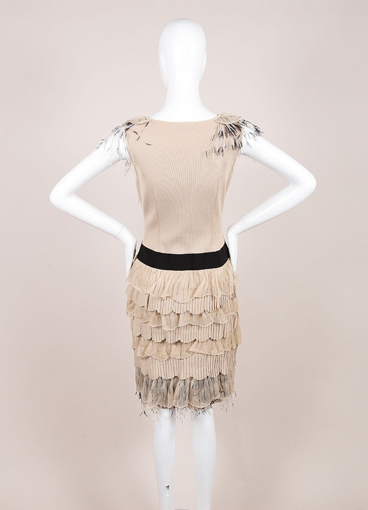 Valentino Beige Fitted Tiered Feather Dress Backview