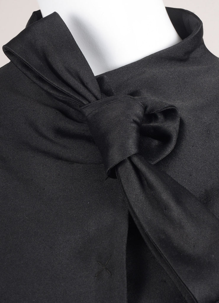 Valentino New With Tags Black Dot Stitch Wool and Silk Neck Tie Pleated Waist Long Sleeve Jacket Detail