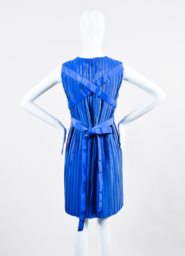 Cobalt Blue Victoria Victoria Beckham Taffeta Pleated Belted Dress Backview
