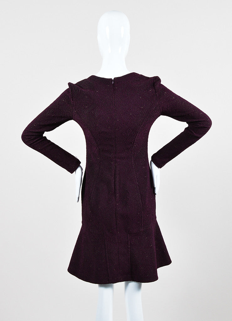 Yigal Azrouel Purple Jacquard Long Sleeve Flounce Dress Backview