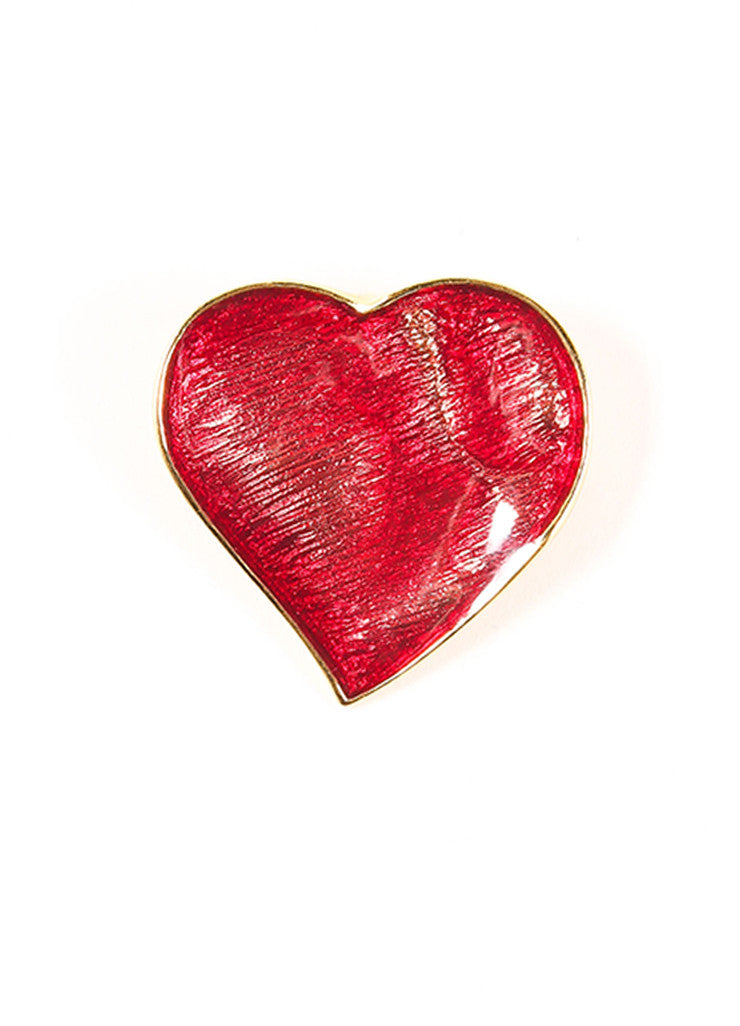 Yves Saint Laurent Red and Gold Toned Enamel Heart Pin Brooch Frontview