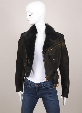 Ralph Lauren Purple Label Black and Gold Print Shearling Leather Crop Jacket Frontview