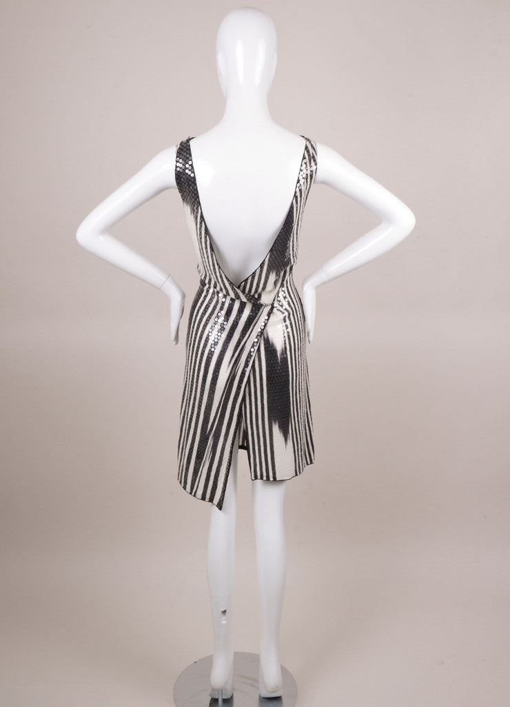 Black and White Sequin Embellished Striped Knit Cotton Dress