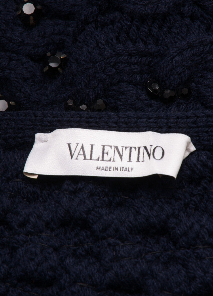Valentino Navy Wool Cable Knit Jewel Rhinestone Embellished Sweater Brand