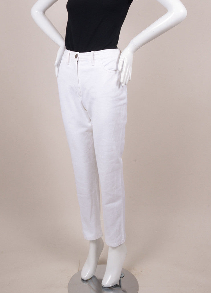Chanel White Denim Jeans Sideview