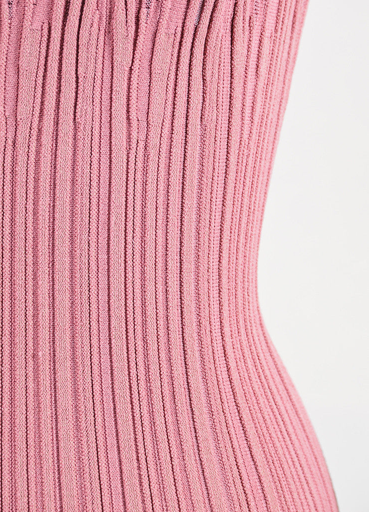 Dusty Pink Alaia Stretch Texture Knit Sleeveless Trumpet Flared Dress Detail