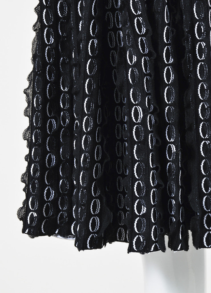 Black and White Alaia Circle Knit 3D Ruffle Sleeveless Flared Dress Detail