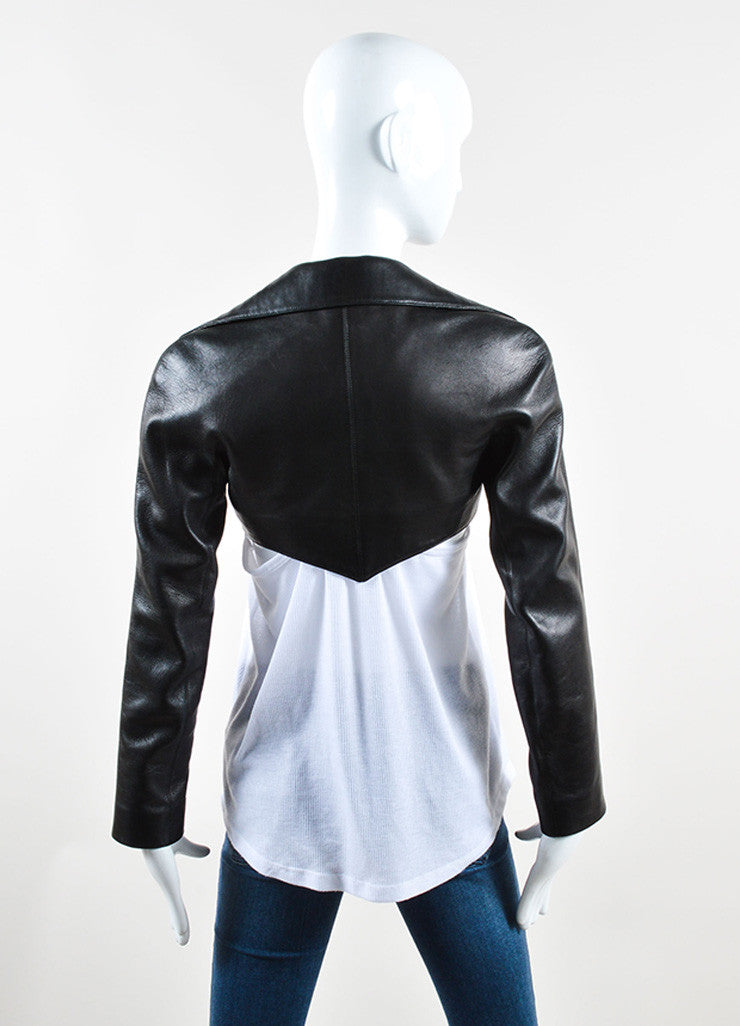 Alaia Black Lamb Leather Cropped Moto Bolero Jacket Backview