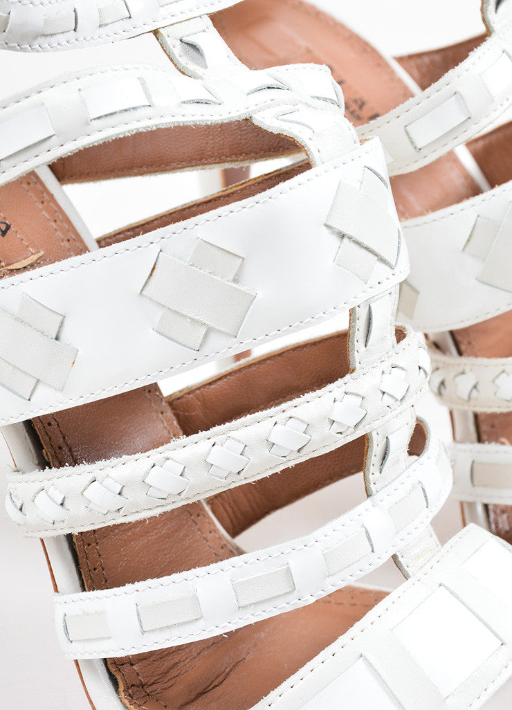 Alaia White Patent Leather Woven Cage Sandal Heels Detail