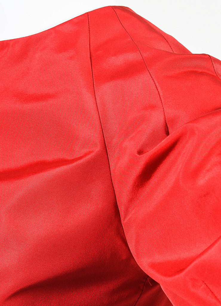 Alexander McQueen Red Silk Taffeta Puff Sleeve Fit and Flare Mini Dress Detail