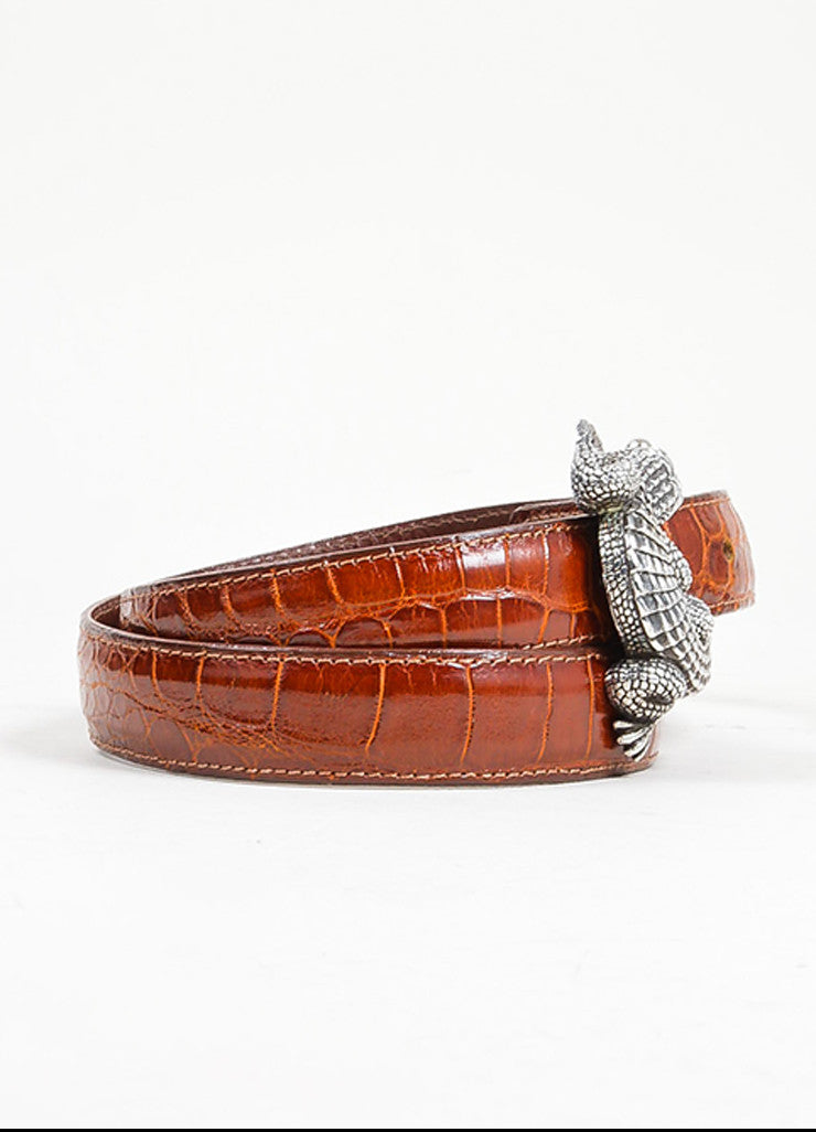 Barry Kieselstein-Cord Brown and Black Interchangeable Strap Alligator Buckle Belt Sideview 2