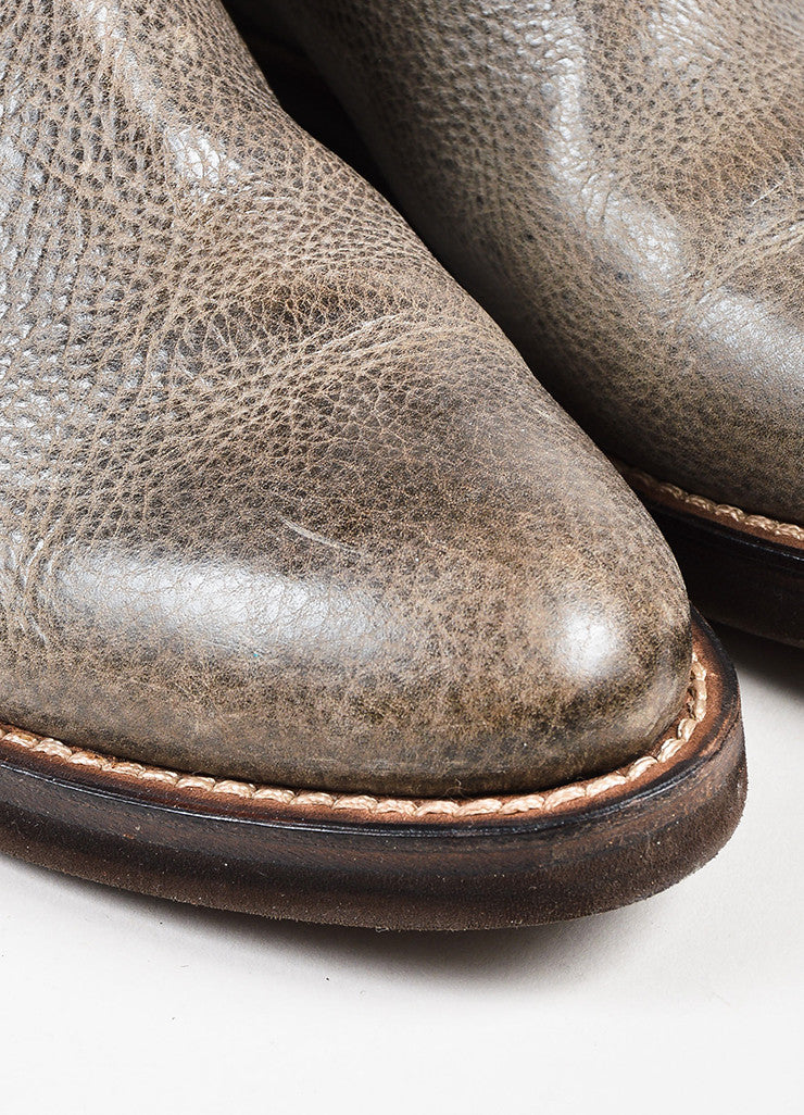 Brunello Cucinelli Gray & Brown Grained Leather Platform Moto Ankle Boots  detail
