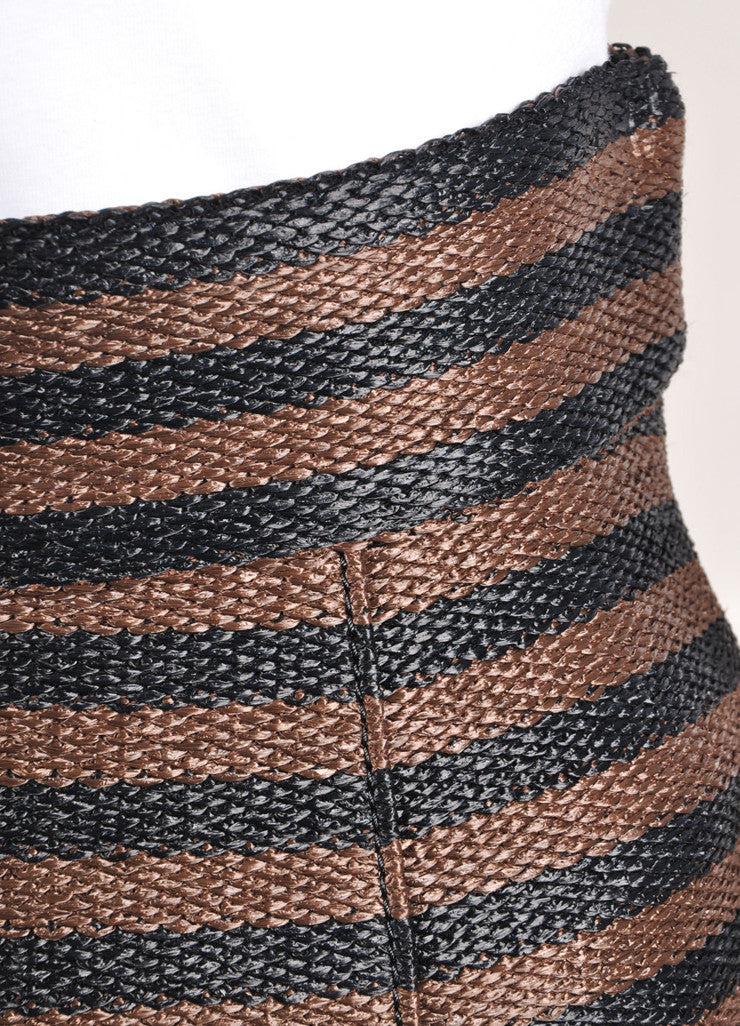 Burberry Prorsum Brown and Black Straw Knit Stripe High Waist Pencil Skirt Detail