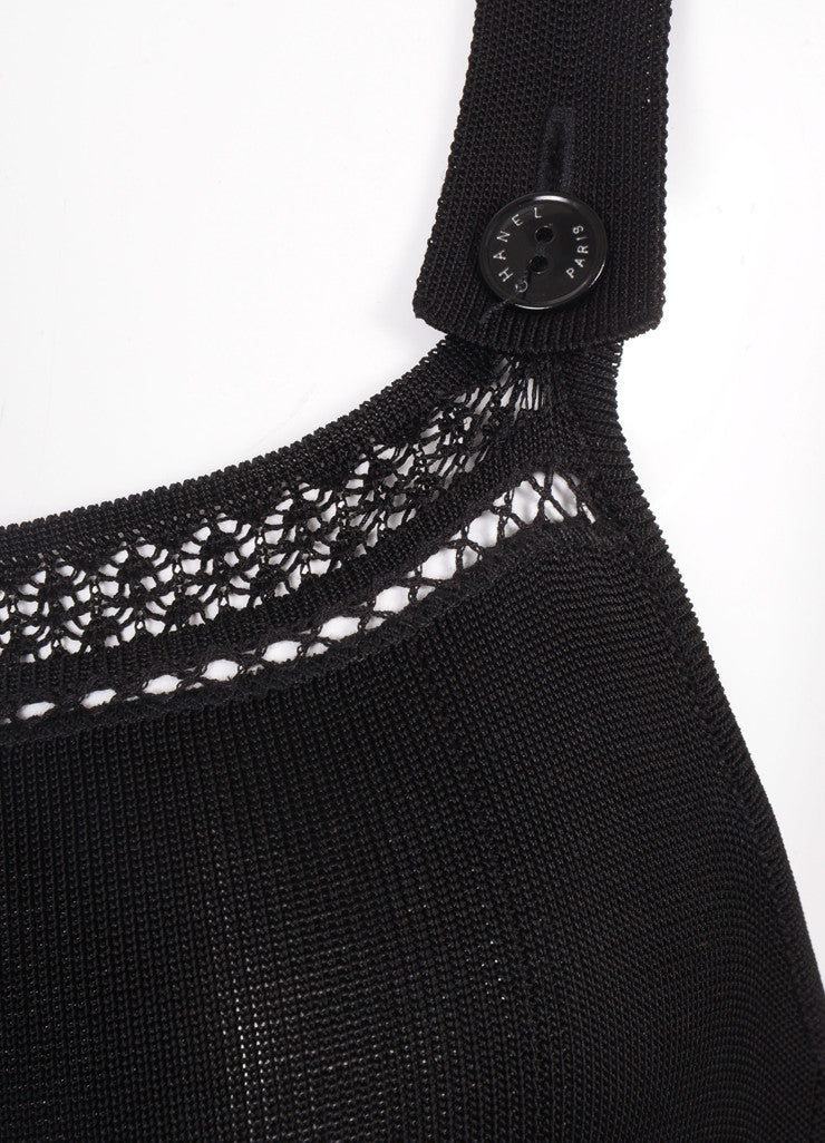 Chanel Black Knit Pleated Sleeveless Dress Detail