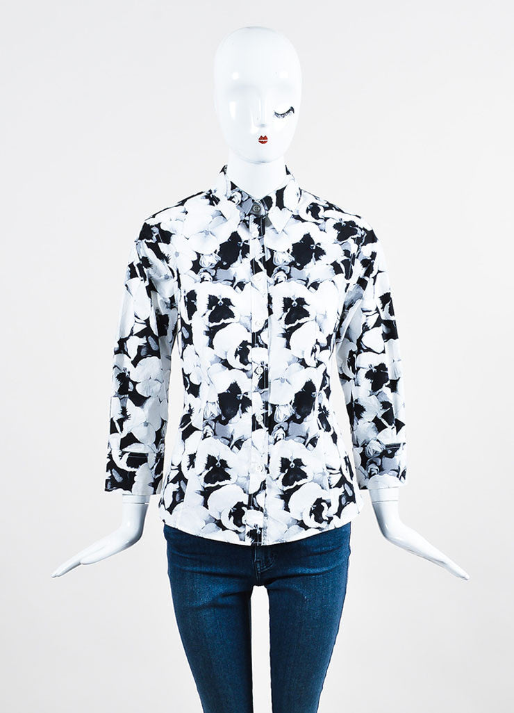 Black, White, and Grey Carolina Herrera Cotton Floral Print Button Down Shirt Frontview