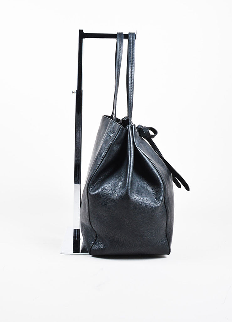 "Celine Black Pebbled Leather Tied ""Medium Cabas Phantom"" Tote Bag Sideview"