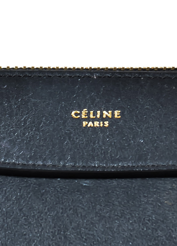 "Black Leather Celine ""Small Ring"" Zip Winged Satchel Bag Brand"