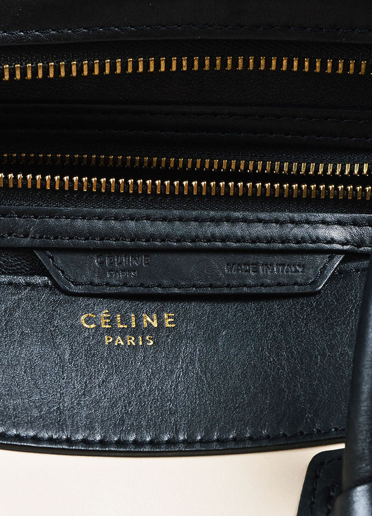 "Celine Black, Tan, and Beige Leather and Suede Winged ""Mini Luggage Tote"" Handbag Brand"