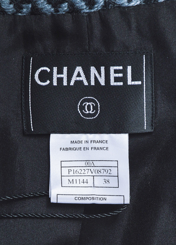 Chanel Fall 2000 Black Gray Wool Tweed Patterned Belted LS Sweater Jacket: brand