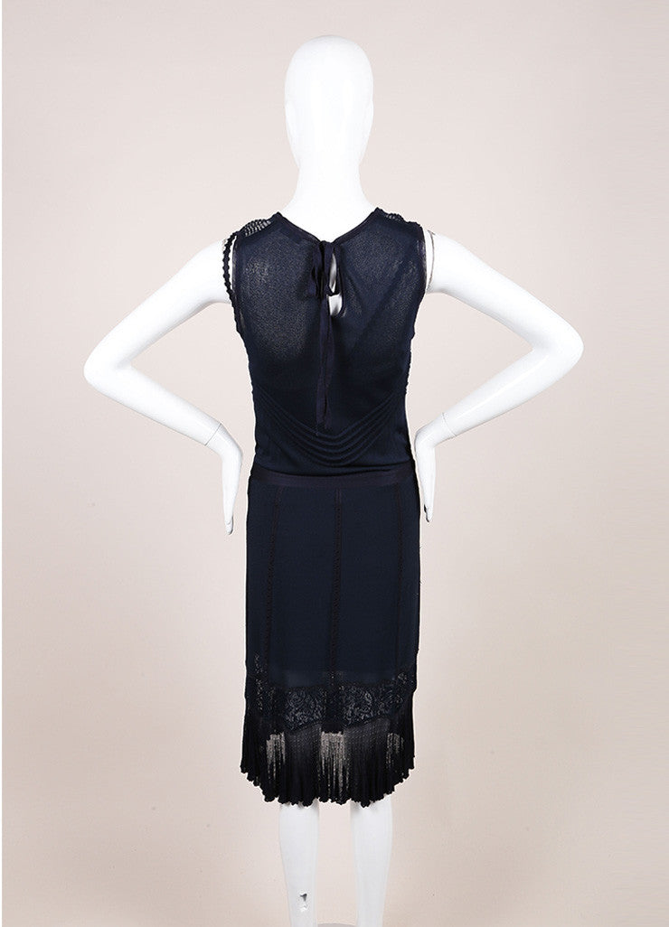 Chanel Navy Slinky Knit Jersey Lace Trim and Pleated Sleeveless Dress Backview