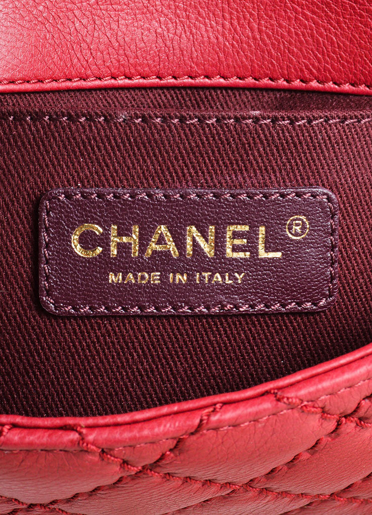 Chanel Red Leather Chain Strap Flap Crossbody Bag Brand