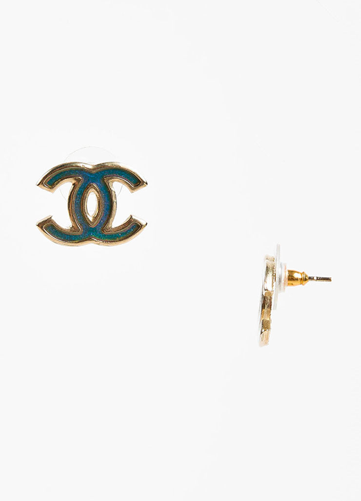 Chanel Gold Toned Metal Holographic Enamel 'CC' Logo Post Earrings Sideview