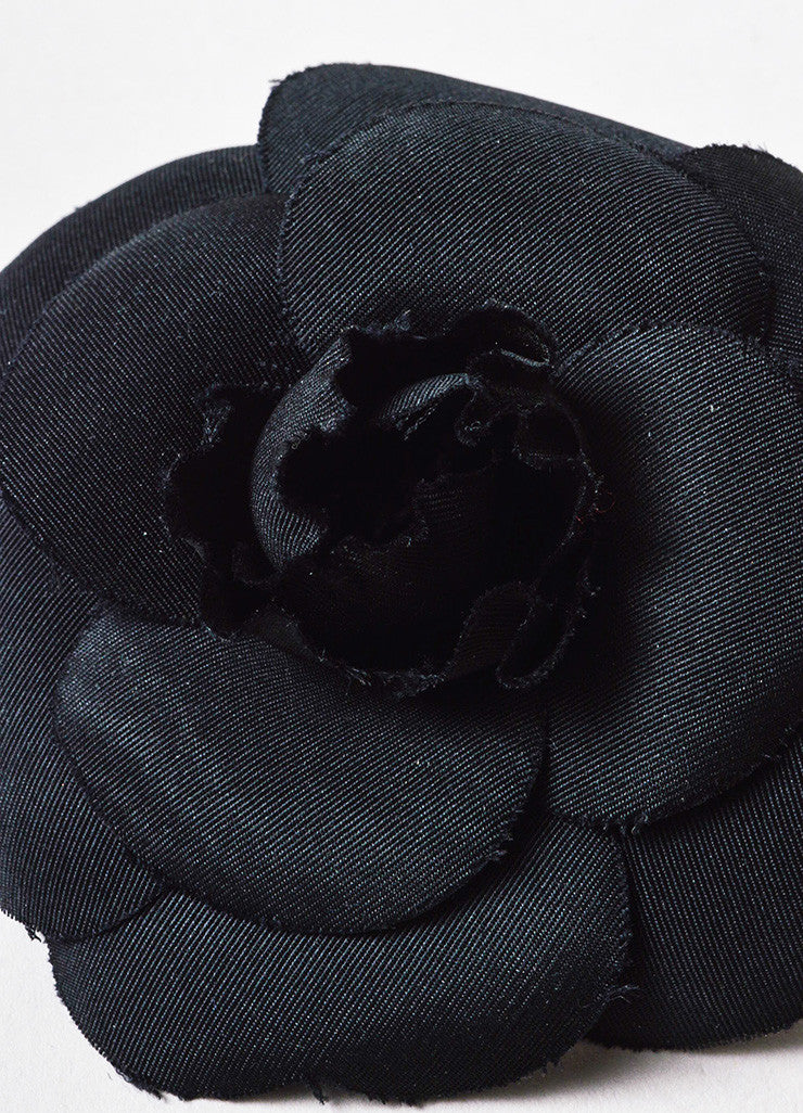 Black Chanel Silk Twill Camellia Flower Brooch Pin Detail
