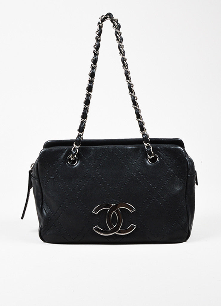 Black Chanel Caviar Leather Silver Toned 'CC' Logo Diamond Stitch Chain Strap Bag Frontview