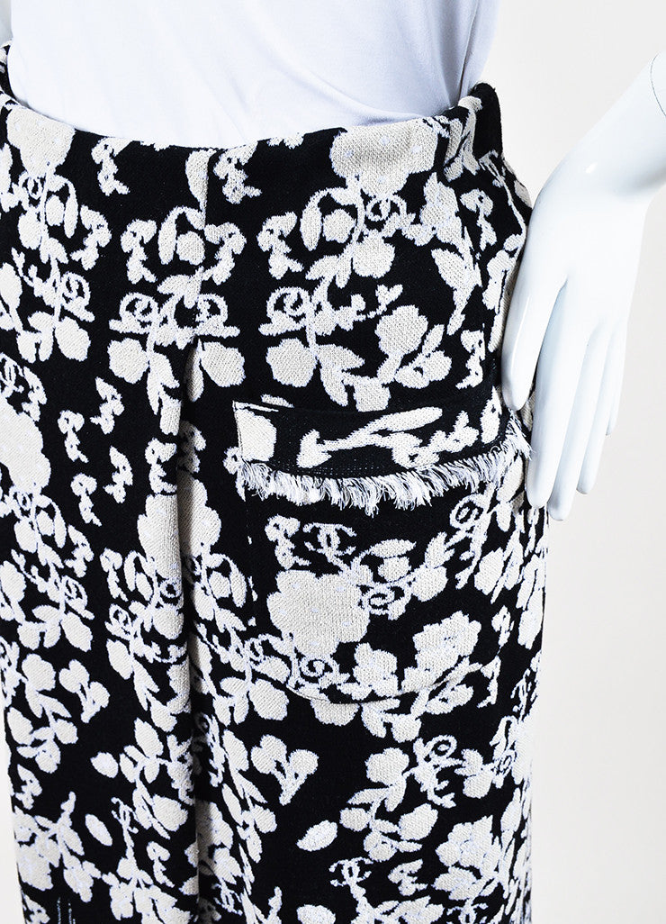 Chanel Black and Cream Cotton Blend Knit Floral Pattern Fitted Maxi Skirt Detail