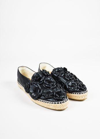 Chanel Black Leather Camellia Floral Slide On Espadrilles Frontview