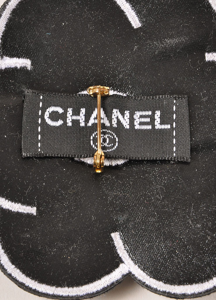 "Chanel Black and White Leather Camellia ""CC"" Logo Pin Brooch Brand"