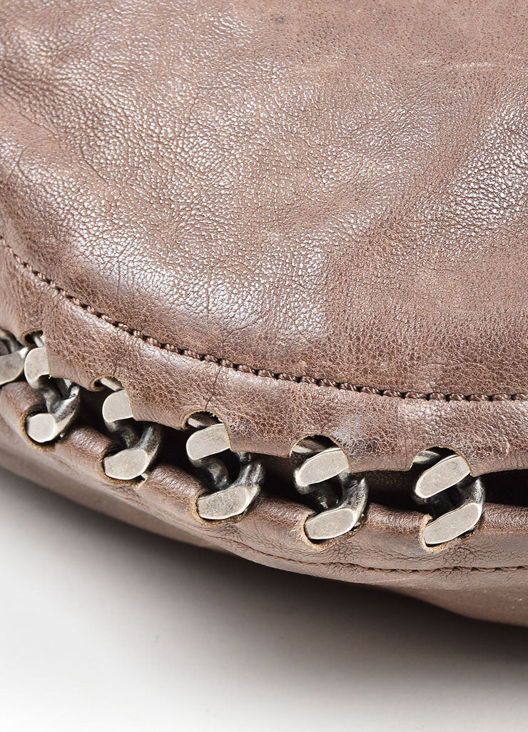 "Grey Taupe  Leather Chanel 'CC' Silver ""Modern Chain Hobo"" Bag Detail"