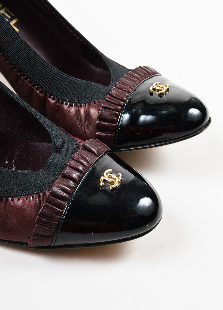 Chanel Maroon Black Leather Patent Trim Ruffle Almond Cap Toe Pumps Detail