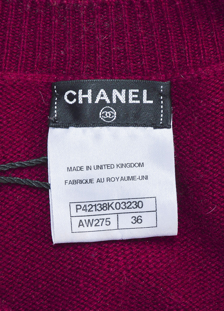 Chanel Maroon and Gold Toned Cashmere 'CC' Turnlock Detail Long Sleeve Sweater Dress Brand