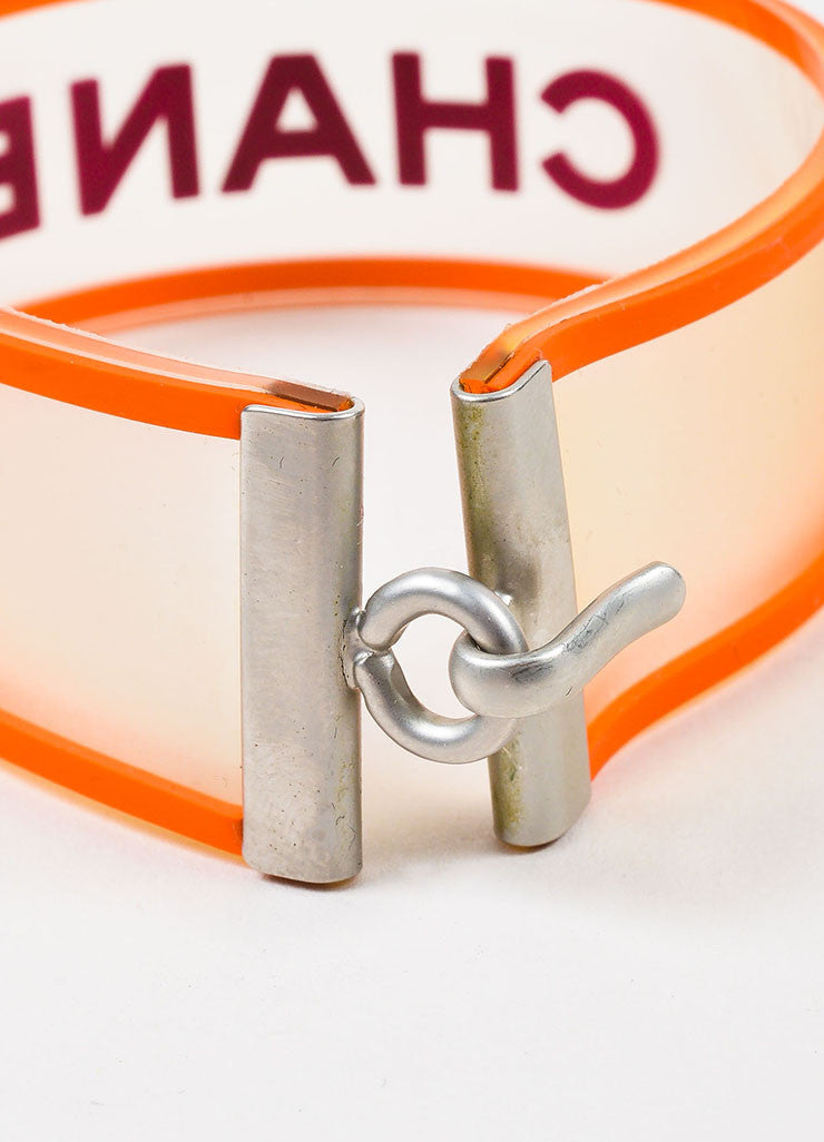 Silver Tone, Orange, and Purple Chanel Rubber Transparent Strap Bracelet Detail 2