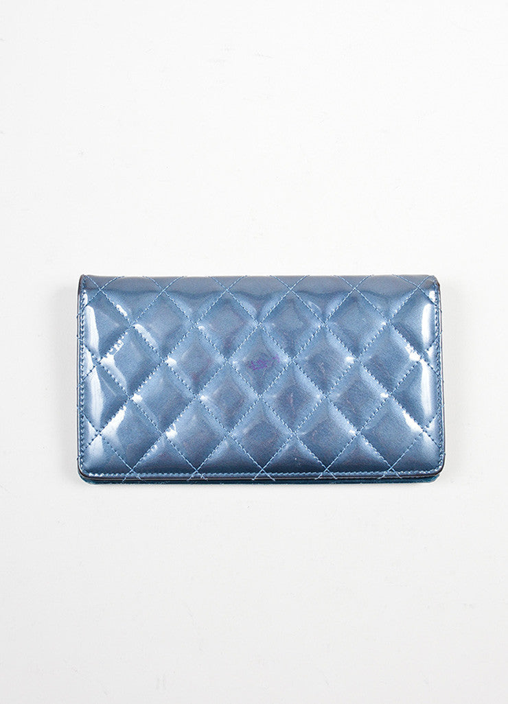 Steel Blue Shimmer Patent Leather Quilted Chanel 'CC' Bifold Wallet Backview